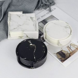 Marble Design Coasters: PU Leather