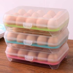 Box Eggs Holder Grids Durable Plastic With Lid