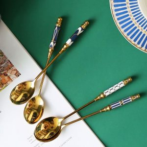 Ceramic Handle Spoon with Fancy Design