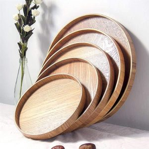 Wood Snack Dessert Plate Food Tray With Multipurpose Use