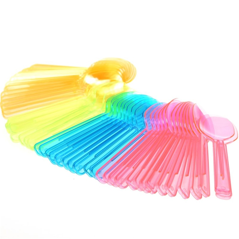 Pink Plastic Forks Plastic Knives and Forks Plastic Forks Disposable Spoons Colorful Spoons Plastic Disposable Ice Cream Fashion Dessert Party Mini Flatware