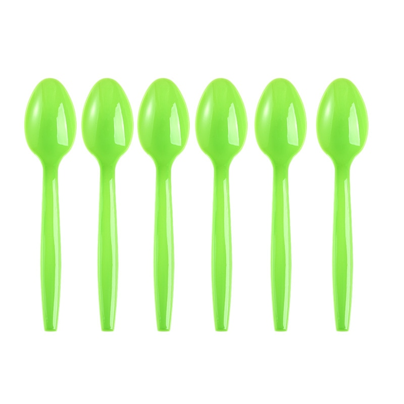 Disposable Spoons Plastic Soup Spoons Plastic Serving Spoons Plastic Cutlery Packets Solid Green Disposable Tableware Spoons Birthday Festival Decoration