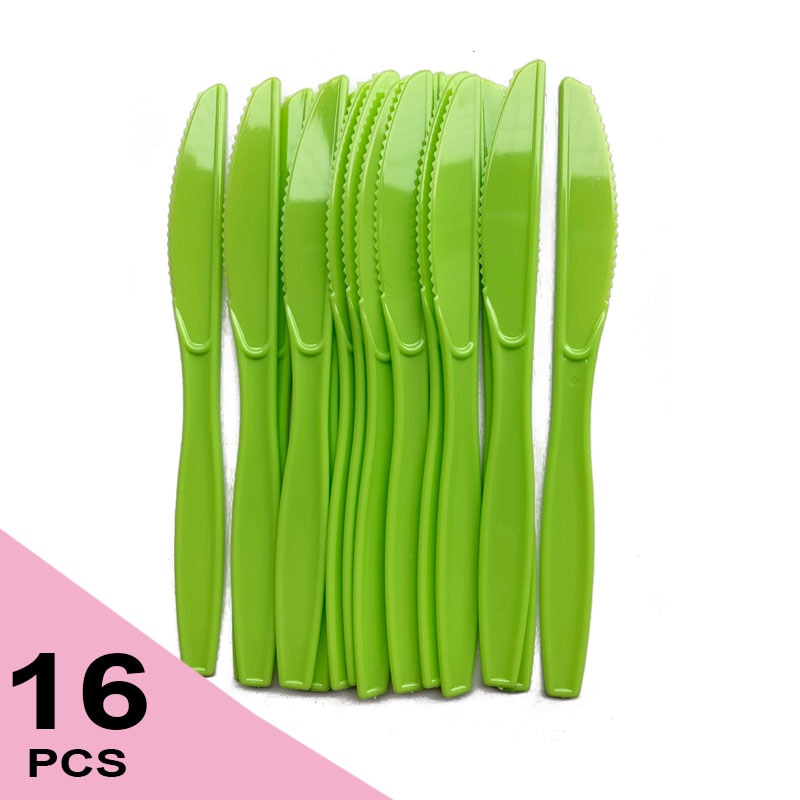 Disposable Knife Plastic Knives Plastic Cutlery Sets with Nap Heavy Duty Plastic Knives Green Plastic Tableware Disposable Knife Set Birthday Party Supplies Set