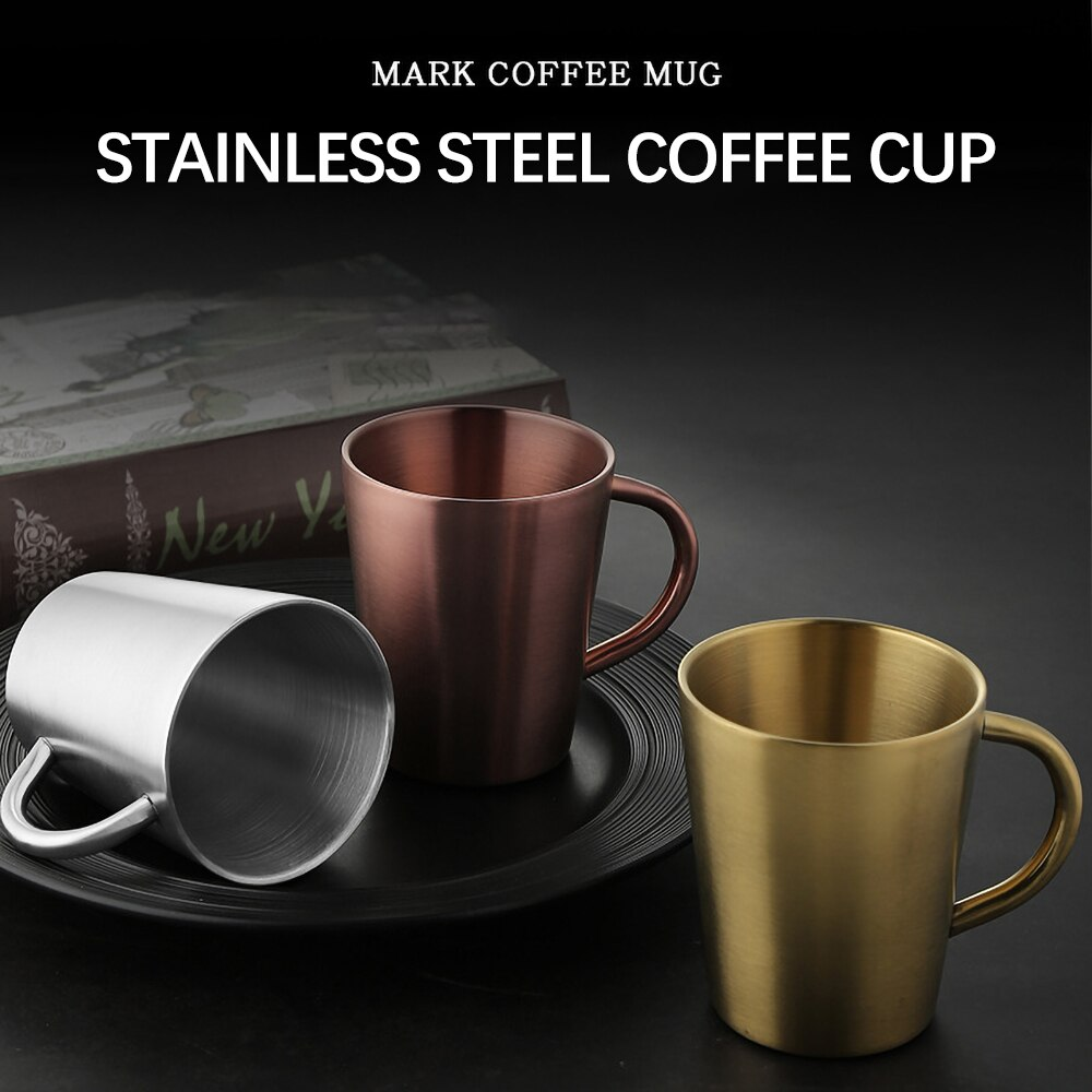 Drink Mug Dining Bar Water Cup Beer Mug Water Cup Drink Mugs Double Wall Insulated Stainless Steel Rose Gold With Handle Home Dining Barware Beer Cups