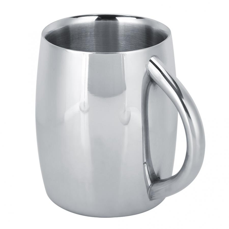 Milk Drinking Bar Cup Drinking Mug Milk Bar Coffee Mug Cup Double Layer Stainless Steel Drinking Cups With Handle For Beer Tea Water Milk Bar Cup For Beer
