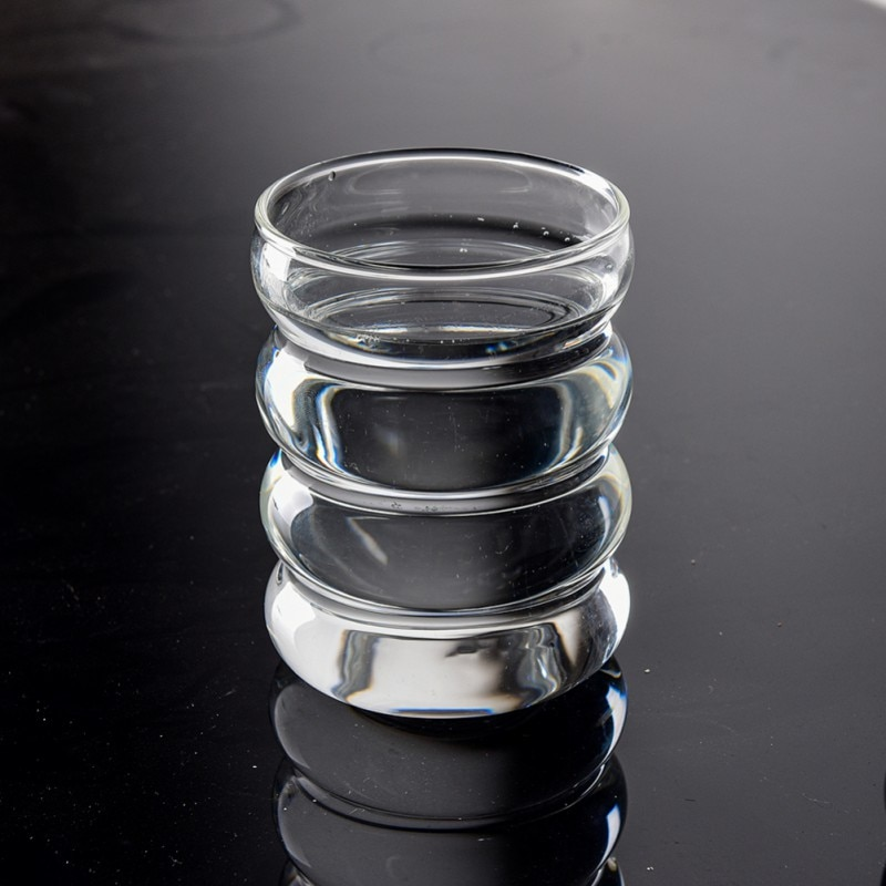 Glass Cup Whiskey Glass Milk Cup Coffee Cup Heat Resistant Ripple Design Glass Cup Milk Cup Beer Espresso Coffee Cup Handmade Beer Mug Whiskey Glass