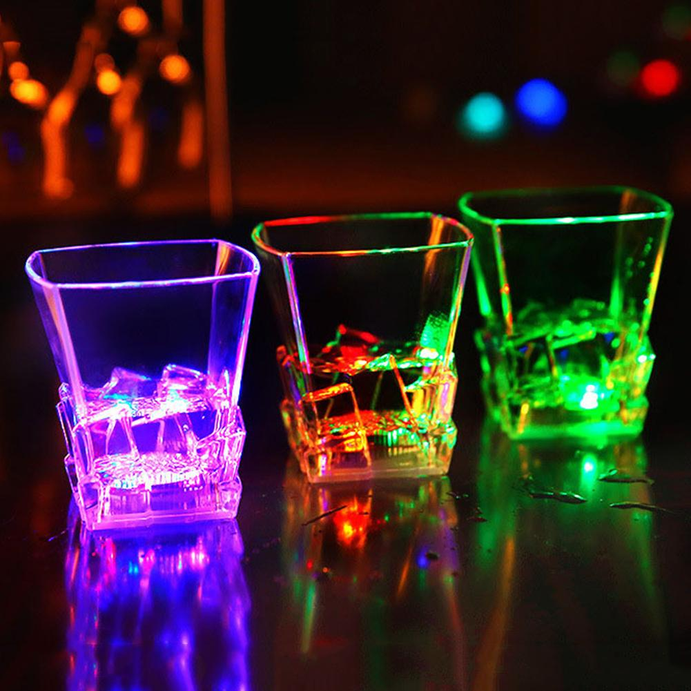 Whiskey Cup Party Bar Glass Cup Wine Glass LED Flashing Color Change Water Activated Beer Whiskey Cup Mug Party Bar Supply Festival Christmas Glass Cup