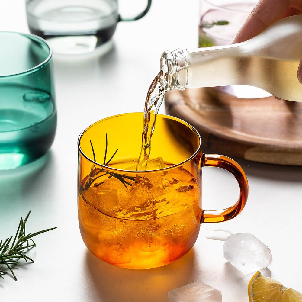 Coffee Cup Home Bar Colored Mug Drink Glasses Creative Glass Mug Milk Tea Coffee Cup Colored Mug Home Bar Drinkware Couple Gifts Heat Resistant Glass