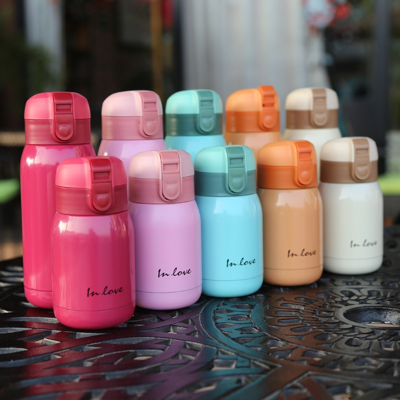 Thermos Cup Coffee Mug Water Bottle Mini Cup Cute Candy Mini Thermos Cup Children Cartoon Hot Water Bottle Stainless Steel Thermal Coffee Mug Insulated