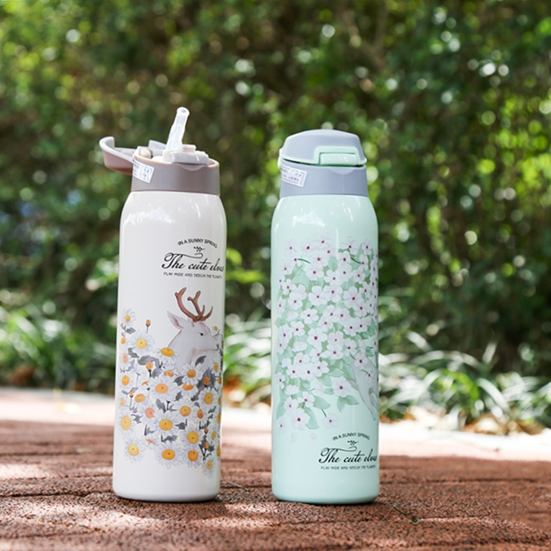 Water Bottle Thermos Cup Steel Straw Travel Cup Stainless Steel Straw Thermos Cup Travel Water Bottle Baby Thermos Cups Barware Thermoses Cups Bottles