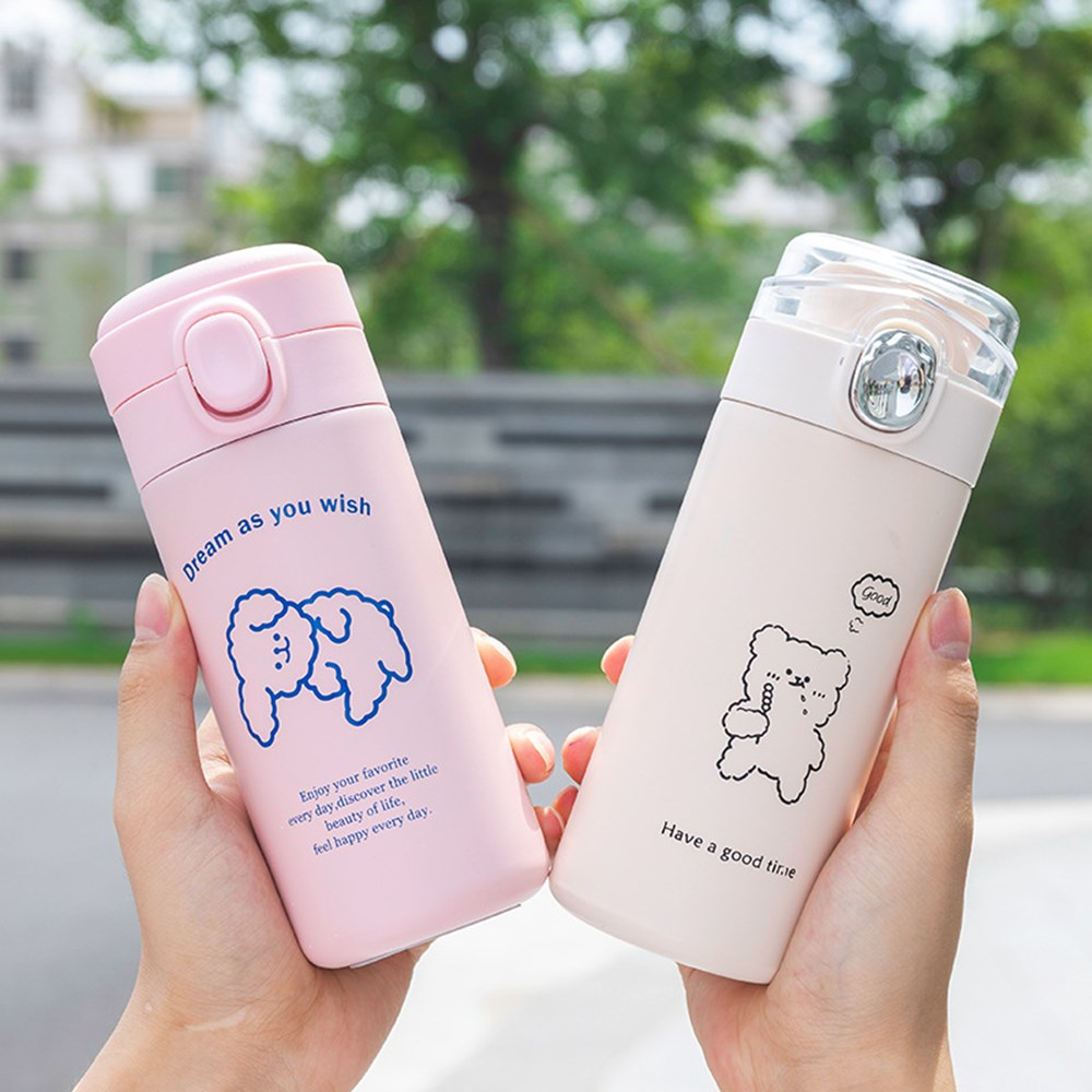 Thermos Cup Pea Cup Water Cup Portable Cup Cartoon Pea Cup Portable Pop Lid Art Small Fresh Student Water Cup Girls Heart Thermos Cup Barware Thermos