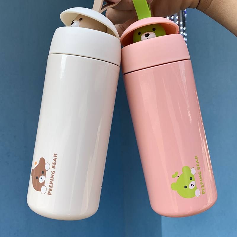 Water Cup Thermos Insulation Student Cup Vacuum Bottle Cute Funny Cartoon Stainless Steel Sports Water Cup Creative Thermos Insulation Student Couple Cup