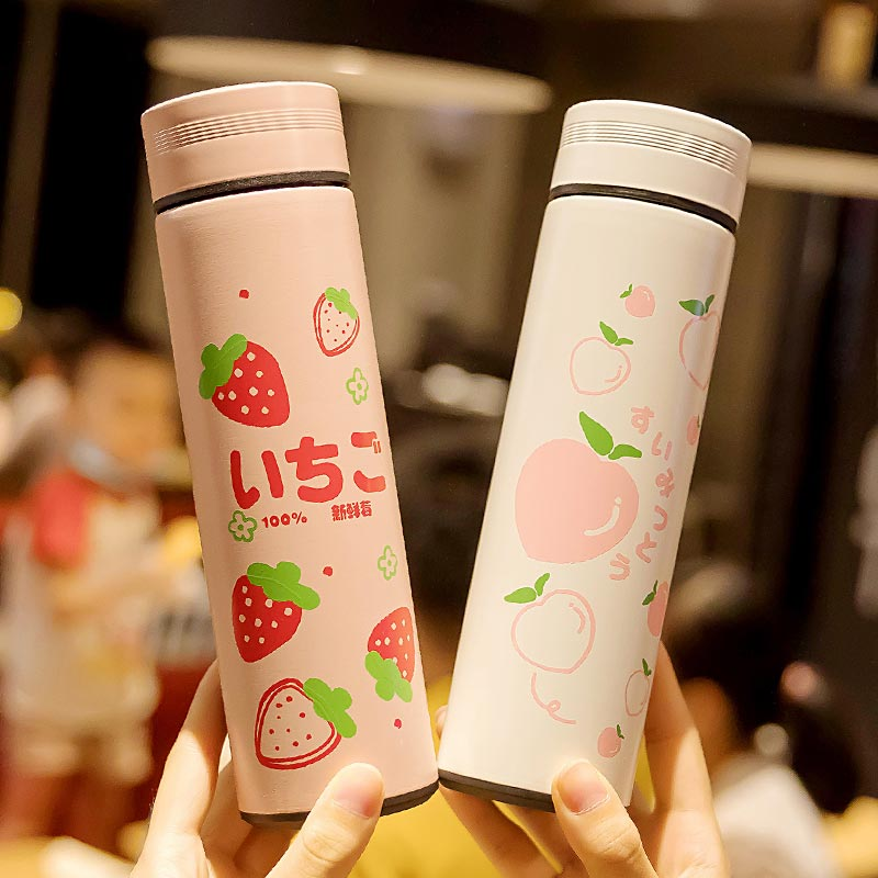 Drinking Bottles Vacuum Cup Water Bottle Tea Strainer Kawaii Fruit Printed Vacuum Cup Cute Fashion Stainless Steel Thermos Water Bottle With Tea Strainer