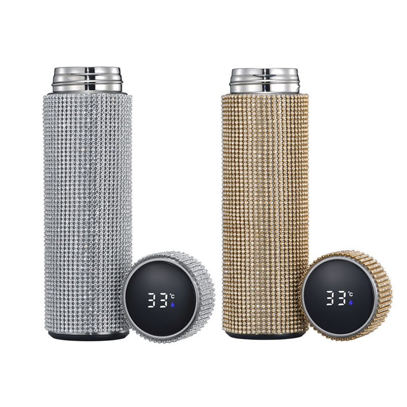 Thermos Mug Coffee Cup Water Bottle Flask Water New Smart Diamond Thermos Touch Temperature Display Stainless Steel Vacuum Flask Water Coffee Cup