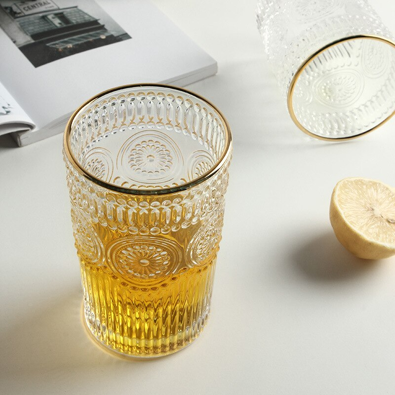 Living Room Glass Cup Roman Glass Vintage Cup Heat Resistant Vintage Roman Glass Cup Nordic Home Decor Wine Glasses Drinking Glasses Table Decor Cup