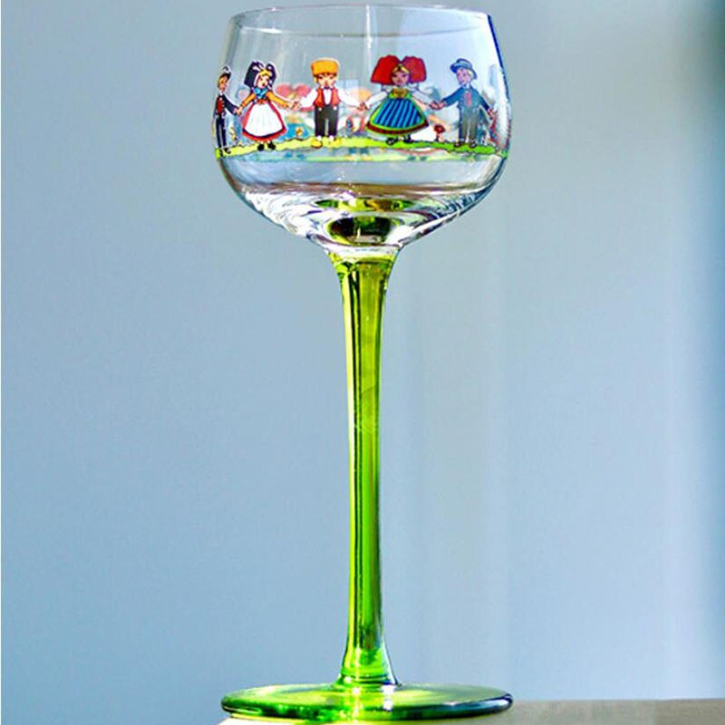 Wine Cup Wine Glass Cocktail Glass Villain Glass Wine Glass Goblet Alsatian Villain Glass Wine Cup Cocktail Glass Nordic In Style Hand-painted Cute Doll Goblet