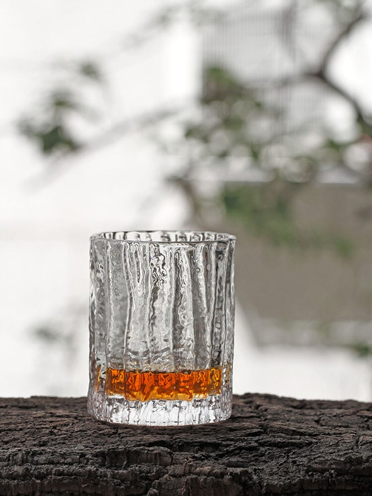 Rock Glass Tumbler Cup Present Box Old Whiskey Japan Crystal Hammer Bark Pattern Whiskey Old Fashioned Rock Glass Hand Carving Whiskey Tumbler Cup