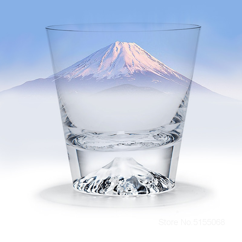 Gift Box Water Cup Rock Glasses Wine Glass Japanese Mount Fuji Crystal Wine Glass Snow Mountain Whiskey Rock Glasses Fujiyama Snowberg Whiskey Mug