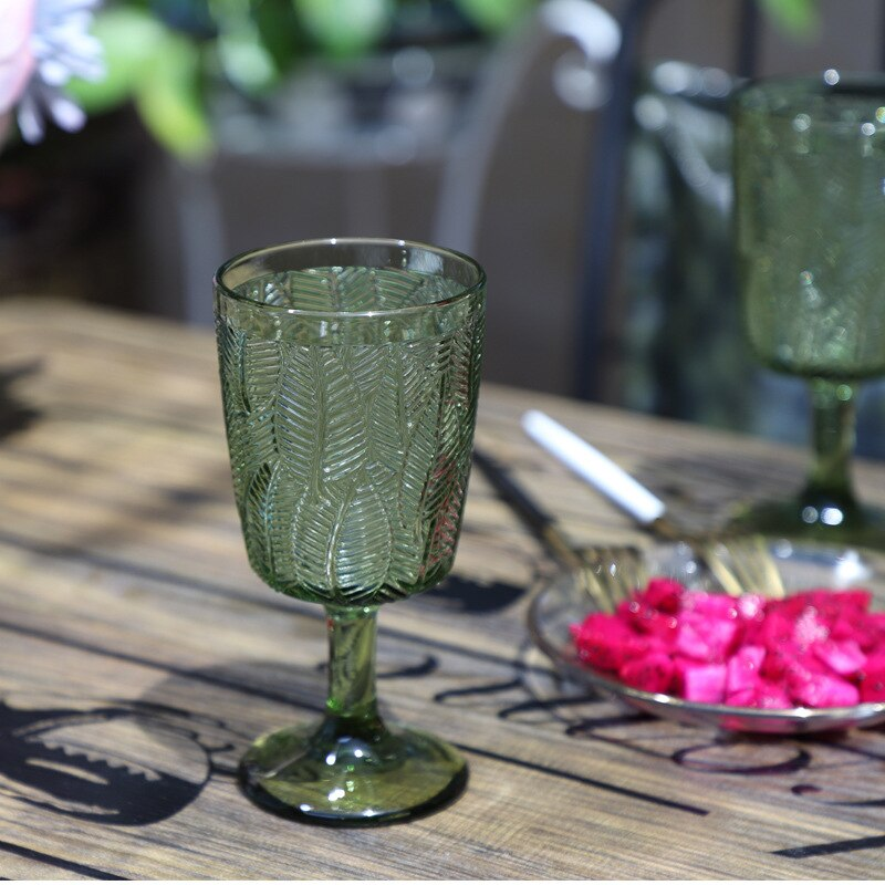 Wine Glass Colored Glass Decoration Cup Juice Cup Colored Glass French Goblet Wedding Decoration Cup Juice Cup European Embossed Wine Glass Goblets