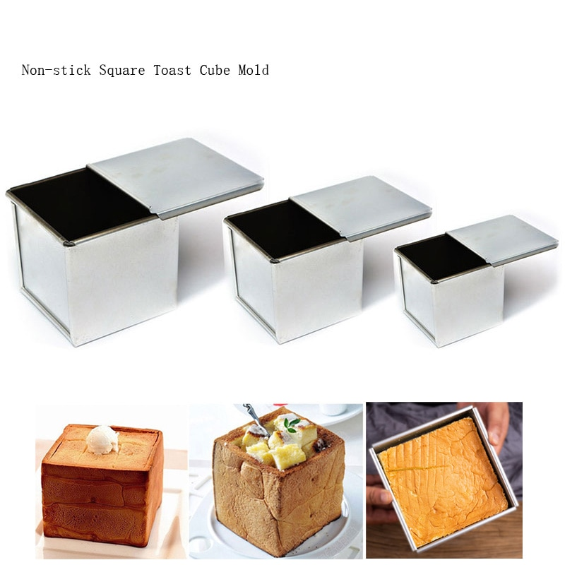 Loaf Pan Baking Pastry Bread Toast Making Mold Mini Nonstick Square Loaf Pan Aluminized Steel Bread Toast Mold with Cover Cake Baking Pastry Cake Mould