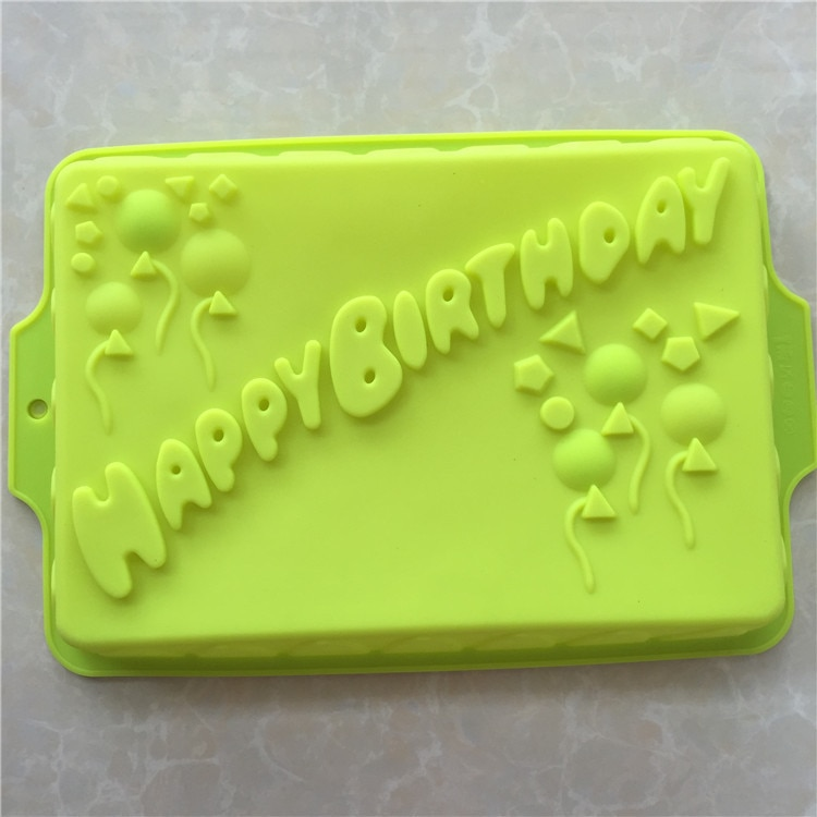 Silicone Cake Baking Tools Kitchen Accessories Cake Mold Big Rectangle Happy Birthday Silicone Cake Mold Bakeware Form For Cake Bakery Kitchen Bake Tool