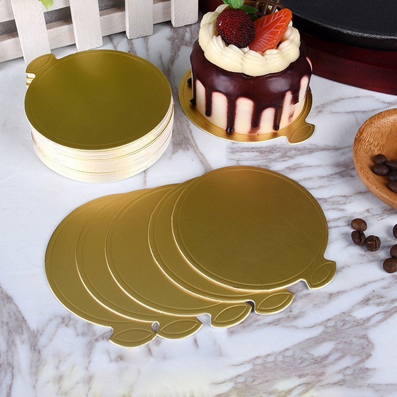 Cake Pastry Birthday Cake Wedding Cake Decorative Tools Round Mousse Cake Boards Gold Paper Cupcake Dessert Displays Tray Wedding Birthday Cake Tools