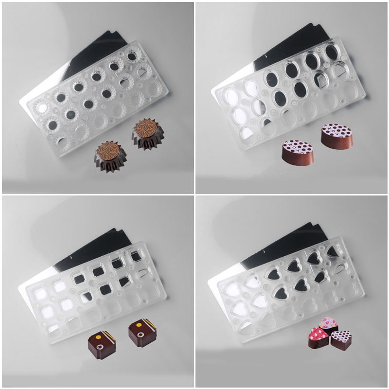 Pastry Tools Choco Shape Chocolate Mold Stainless Steel Seven Kinds Candy Molds Polycarbonate Chocolate Mold Baking Magnetic Stainless Steel Pastry Tool