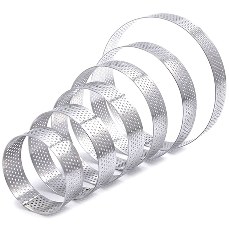 Baking Mold Tart Rings Kitchen Baking Cake Mold Six Pack Perforated Pie Mold Cake Mold Rings Stainless Steel Cake Mousse Rings Pie Pastry Circle Tart Rings