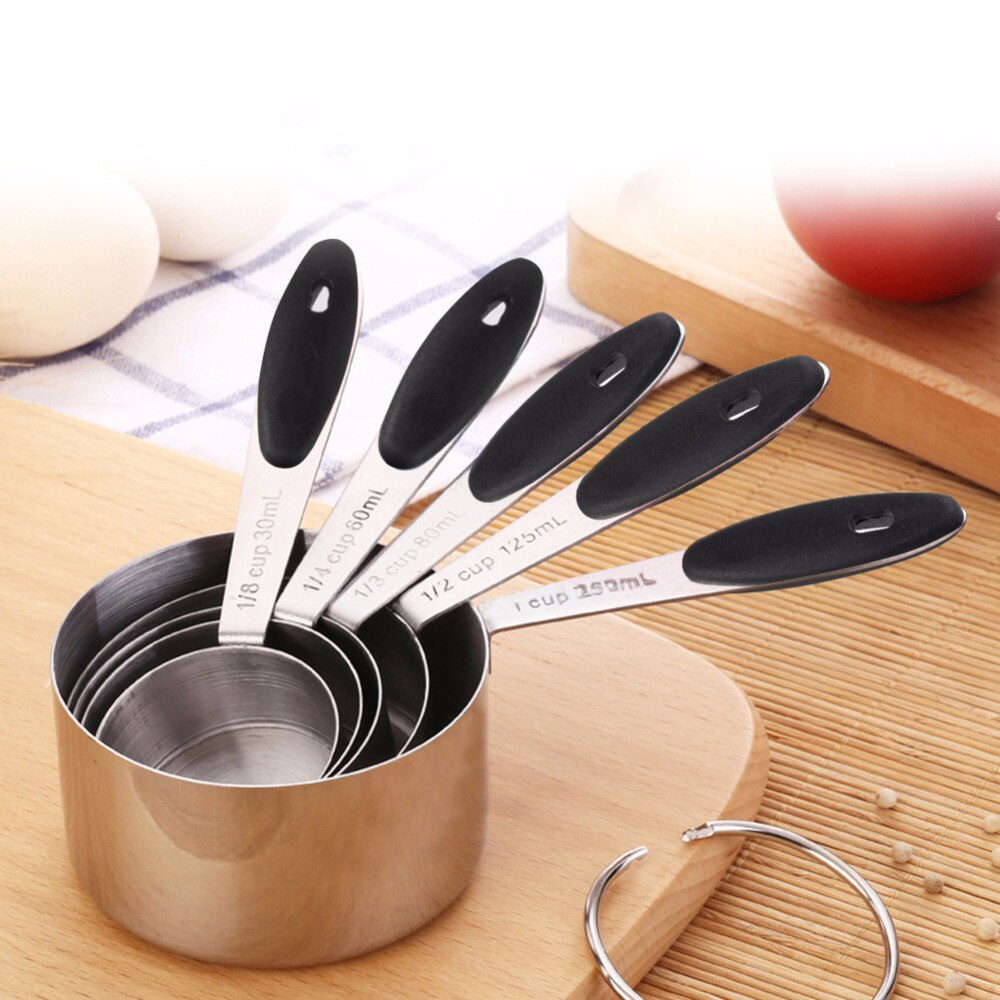 Spoon Set Measuring Cup Spoon Scoop Silicone Handle Stainless Steel Measuring Cups And Measuring Spoon Scoop Silicone Handle Measuring Cooking Tool