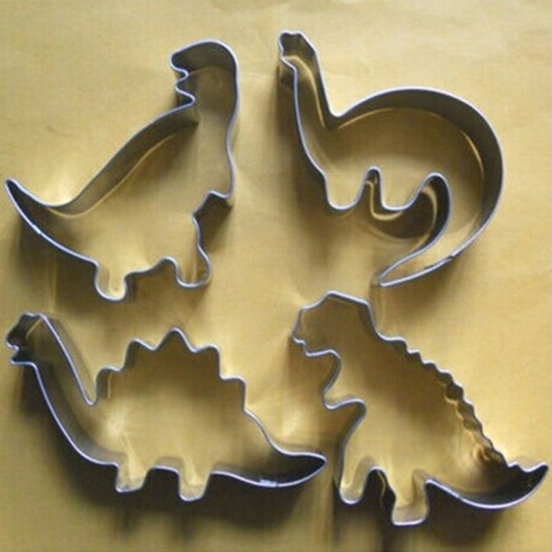Baking Tools Cookie Biscuit Biscuit Cutter Fondant Cake Silver Stainless Steel Dinosaur Animal Fondant Cake Cookie Biscuit Cutter Decorating Mold Pastry Tools