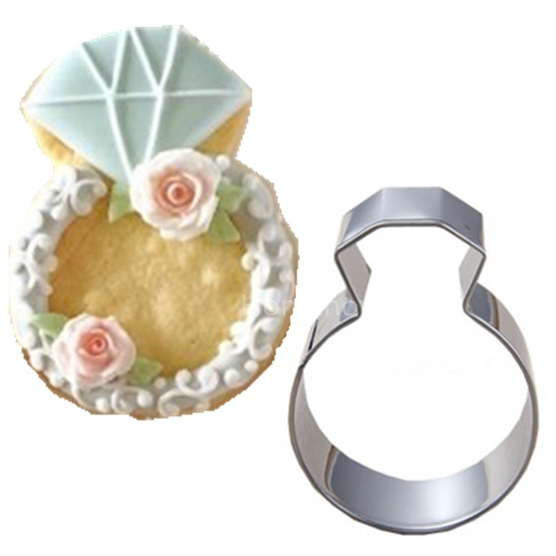 Cookie Stamp Baking Tools Cookie Cutter Kitchen Accessories Hot Lady Wedding Party Diamond Ring Cookie Molds Stainless Steel Accessories Baking Tools