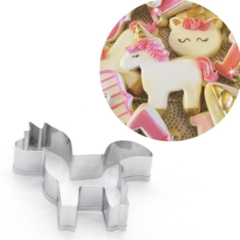 Mold Tools Pancake Mold Cake Decorating Pastry Biscuit Stainless Steel Unicorn Animal Horse Cookie Stamp Fondant Cake Decorating Mold Pastry Biscuit Tool