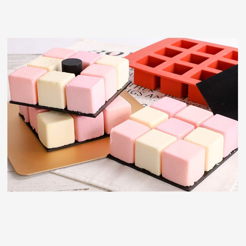 Decorating Tools Square Shape Mold for Cake DIY Tools New Cavity Cube Square Shape Silicone Mold for Cake Decorating Tools DIY Dessert Moulds For Baking