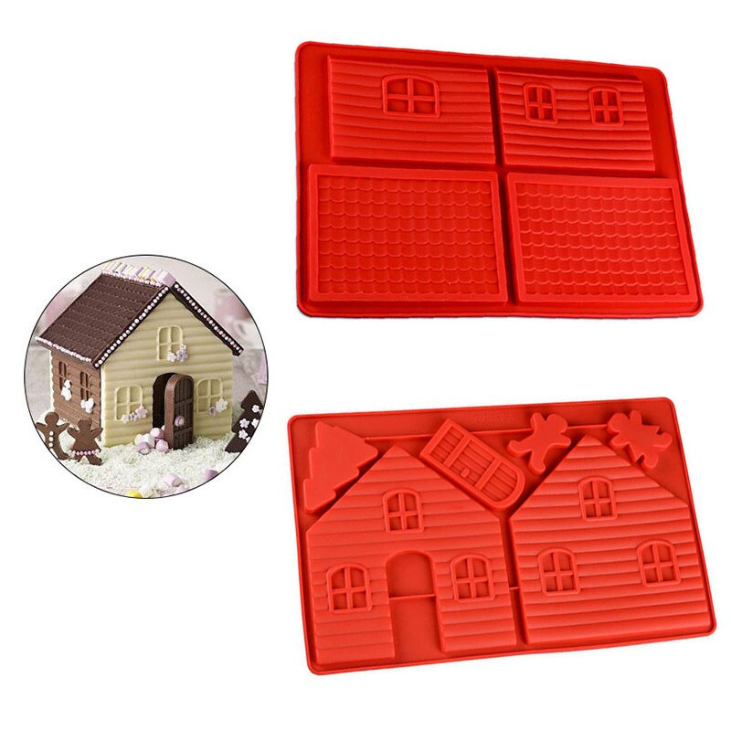 Decorating Tools Gingerbread House Baking Mold Biscuit Dessert Christmas Gingerbread House Silicone Cake Baking Mold Chocolate Biscuit Dessert Bakeware