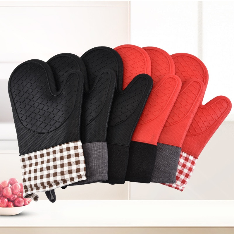 Cooking Tool BBQ Gloves Microwave Gloves Baking Hot One piece Silicone Microwave Gloves BBQ Gloves One Piece Oven Baking Hot Mitts Heat Resistant Tool