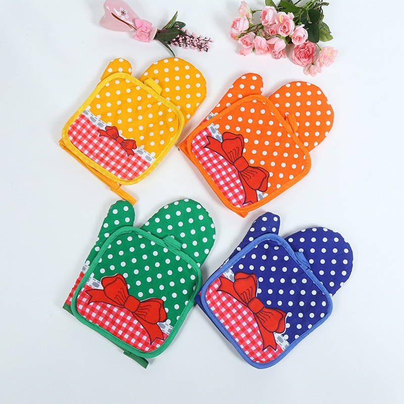 Pad Mat Kitchen Gloves Gloves Baking Insulation Gloves Kitchen Gloves Insulation Cute Bowknot Dot Pad Cooking Microwave Gloves Baking Oven Potholders