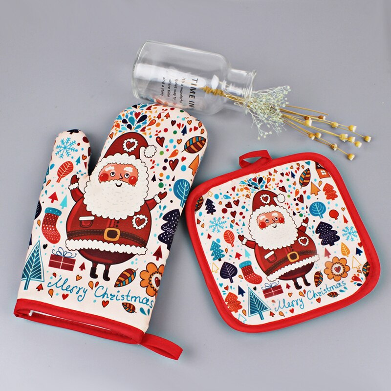 Kitchen Tools Hot Oven Insulation Gloves Baking Kitchen Xmas Hot Oven Mitts Anti-Hot Gloves Pad Oven Microwave Insulation Mat Christmas Decoration Tools