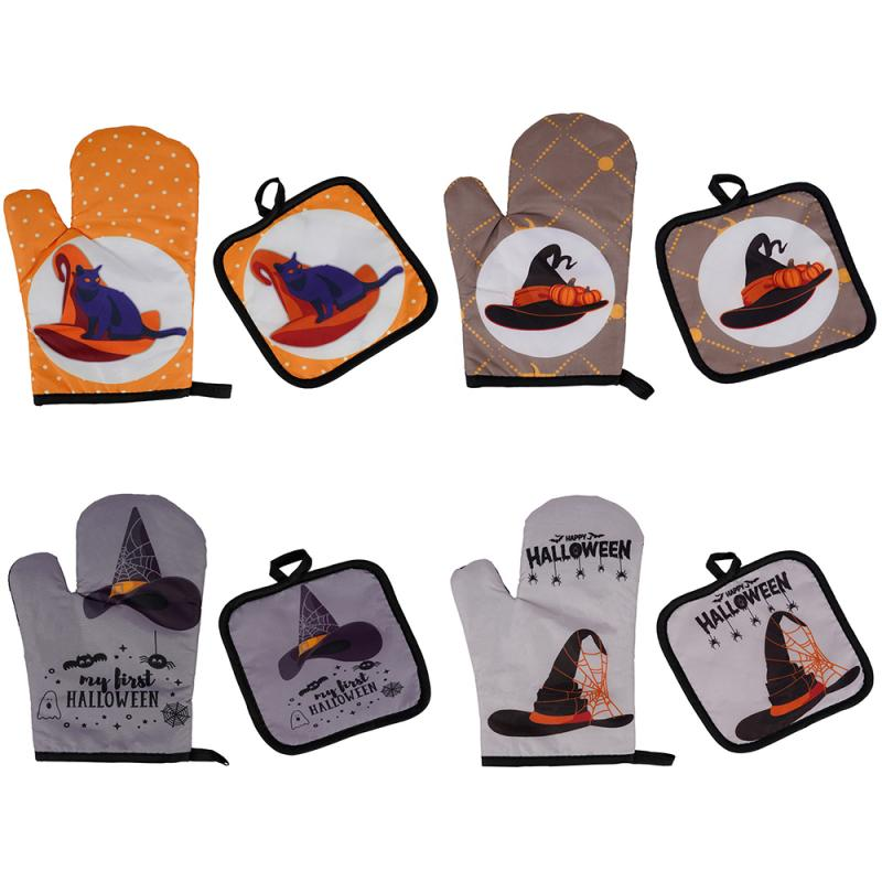 Oven Mitts Kitchen Tools Halloween Hat Insulated Gloves Oven Mitts Halloween Hat Pattern Insulated Gloves Two Piece Oven Baking Glove Tool Bakeware Mitts