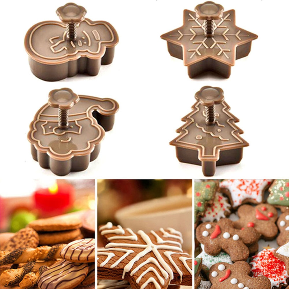 Decorating Tools Baking Mold Cookie Cutter Biscuit Cutter Christmas Tree Snowman Plastic Baking Molds Kitchen Biscuit Cookie Cutters Pastry Plungers Tools
