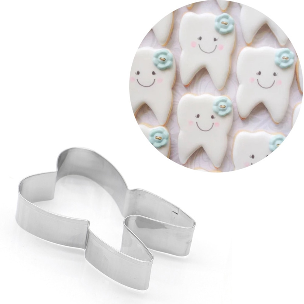 Baking Tools Cake Mold Steel Cookie Decorating Tool Lovely Teeth Shape Stainless Steel Cookie Cutter Cake Decorating Tool Fondant Pastry Biscuit Baking Tool
