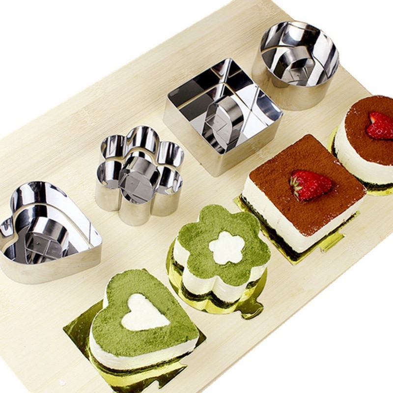 Tips Tools Cake Ring Ring Mold Cooking Ring Four Shape Stainless Steel Mousse Cake Ring Mold Slicer Cooking Ring Mould Mousse Pastry Fluffy Pancake Tips
