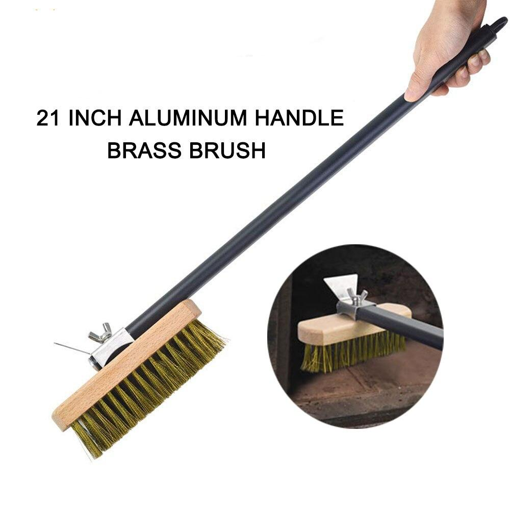 Grill Brass Copper Brush Cleaning Brush Over Copper Professional Pizza Oven Copper Brush Scraper Household Grill Brass Cleaning Brush with Aluminium Handle