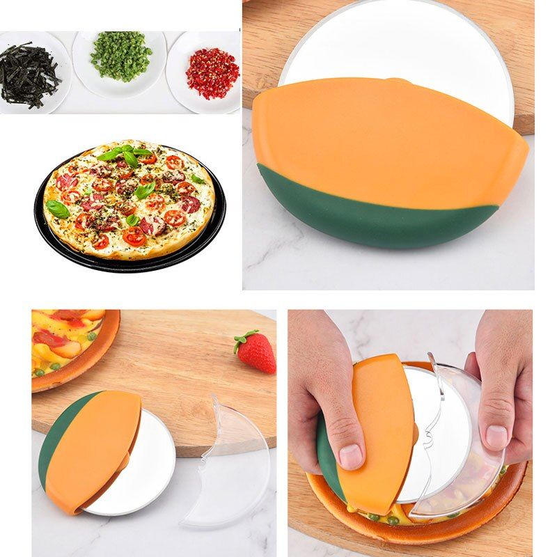 Baking Tool Pizza Wheel Pizza Knife Pancake Knife Good Grip Pizza Cutter Stainless Steel Pizza Wheel Knife Pancake Knife Pizza Cake Bread Round Pizza Knife