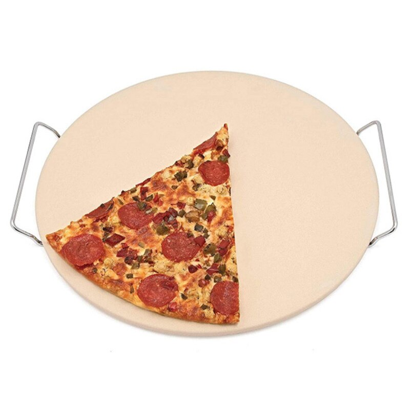 Support Frame Pizza Tools Baking Pizza Thick Stone Pizza Extra Thick Stone for Baking Pizza Tool Oven BBQ Grill Baking Slab Kitchen Bread Tray Support Frame