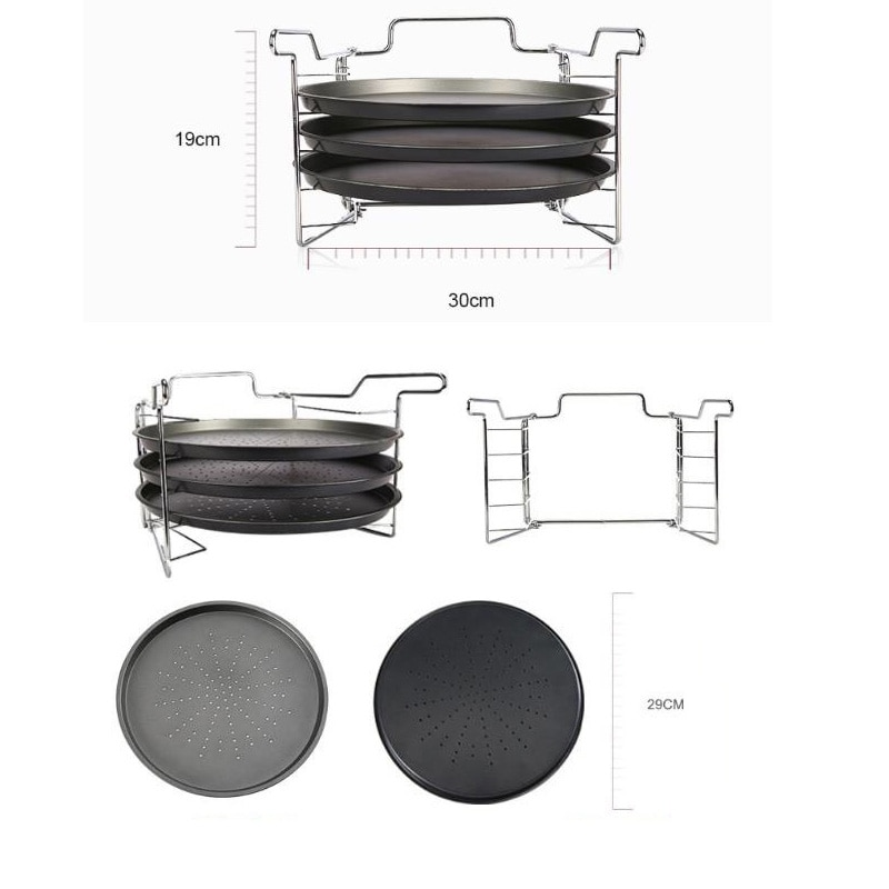 Pizza Baking Baking Tools Pizza Tray Metal Tray Carbon Steel Pizza Tray Metal Nonstick Pizza Baking Pan Shelf Pizza Plate Dishes Holder Kitchen Baking Tools