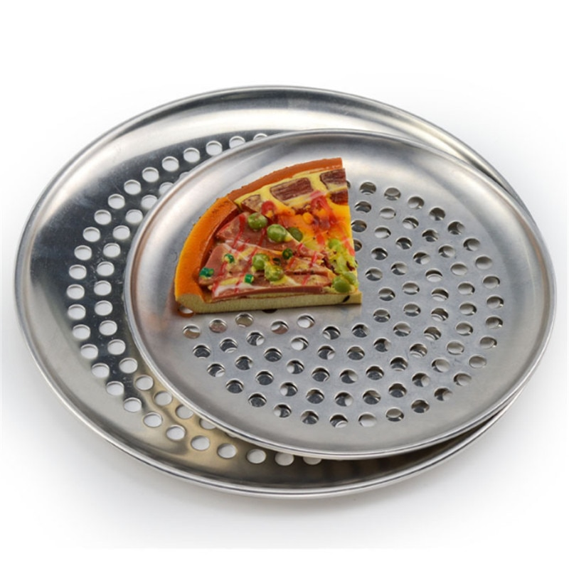Baking Tray Pizza Tools Aluminum Pans Metal Net Aluminum Pans with Holes Non Stick Round Pizza Baking Tray Plate Bakery PizzaTools Oven Outdoor Mesh