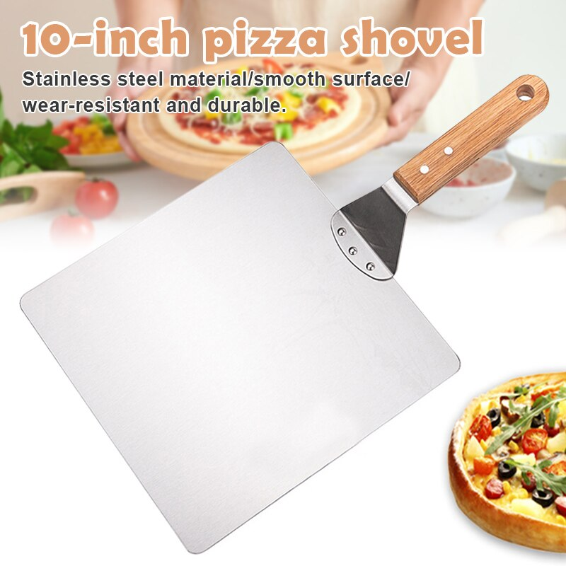 Stainless Steel Shovel for Pizza Wooden Handle Pizza Safe Stainless Steel Shovel for Pizza Safe Transfer with Wooden Handle Square Pizza Safe Transfer Tools