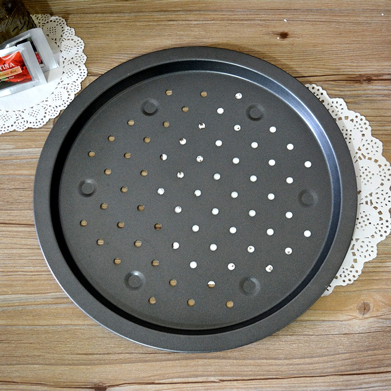 Pizza Pan Carbon Steel Pizza Tray Home Kitchen Carbon Steel Pizza Tray Pizza Pan with Holes Large Size Non Stick Round Pizza Oven Pan Baking Tray Bakeware