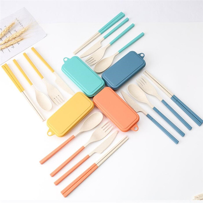 Straw Knife Japan Style Dinnerware Sets Fork Spoon Travel Cutlery Portable Cutlery Box Japan Style Wheat Straw Knife Fork Spoon Student Dinnerware Tool Sets