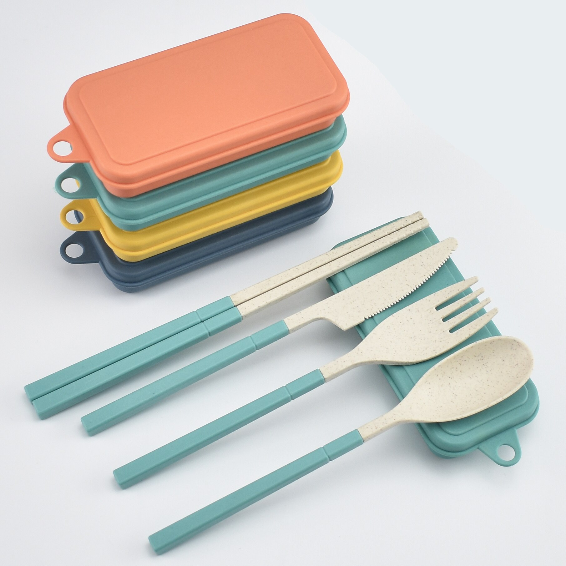 Spoon Fork Fork Knife Cutlery Set Wheat Straw Wheat Straw Portable Spoon Fork Knife Chopsticks Cutlery Set With Box Foldable Removable For Outdoor Travel
